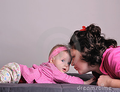 Mother and baby communicating