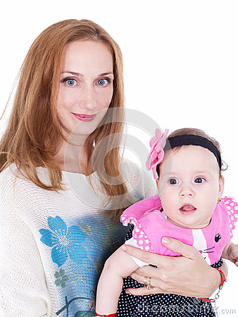 Mother and baby daughter portrait