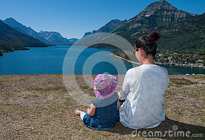 Mother and Baby Enjoying Beautiful View