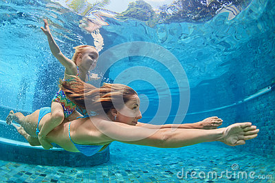 Mother Baby Girl Swim And Dive Underwater In Pool Stock Photo Image 73010291