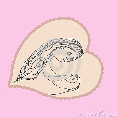 Mother with baby in the heart