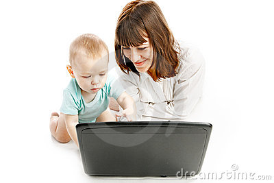 Mother and baby with laptop