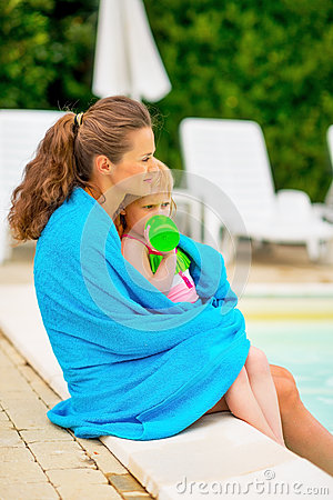 Mother And Baby Near Swimming Pool Stock Photo Image 44277253