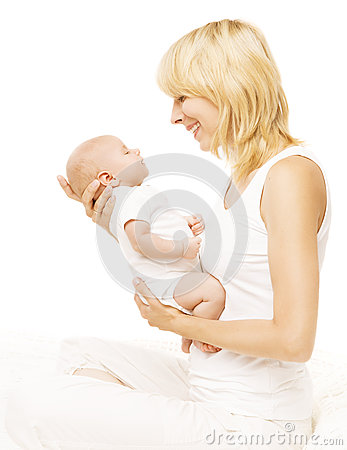 Free Mother Baby Newborn Family, Parent Holding New Born Kid On White Royalty Free Stock Images - 58417569
