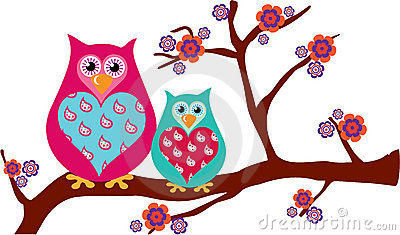 Mother & Baby Owls on a Blossom Branch