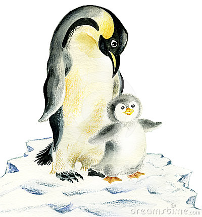 Mother and baby penguins