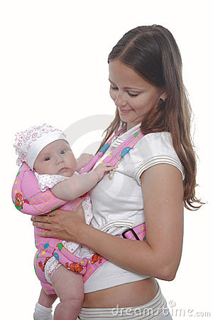Mother with baby in sling