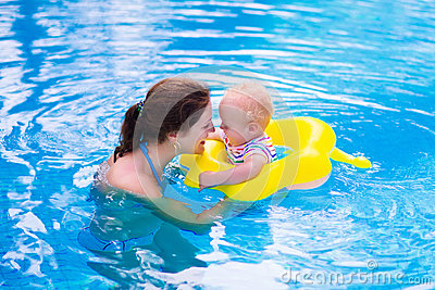 Mother And Baby In A Swimming Pool Stock Photo Image 55567576
