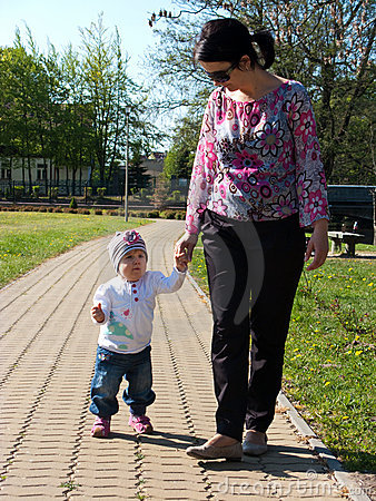 Mother and baby walk