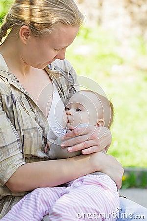 Mother breastfeeds