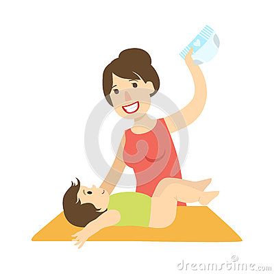 Mother Changing Nappy To A Baby On Changing Table, Illustration From Happy Loving Families Series Vector Illustration