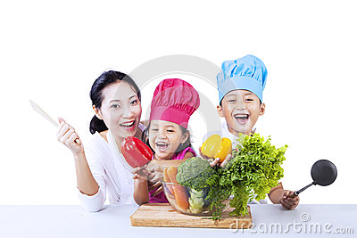 Chef family cook vegetable