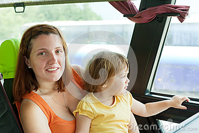 Mother and child in commercial bus