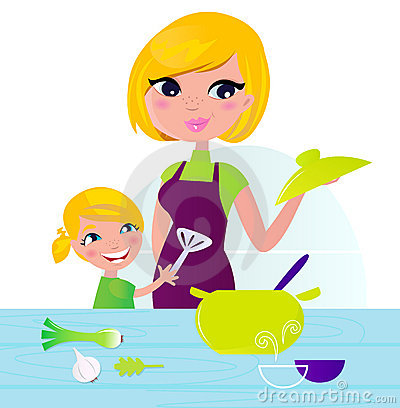 Mother with child cooking healthy food in kitchen