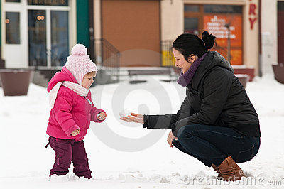 Mother and child in snow