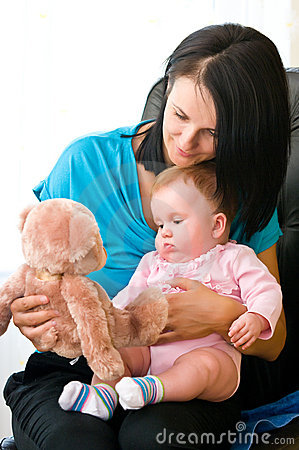 Mother and child with toy