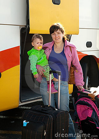 Mother and child traveling on  bus