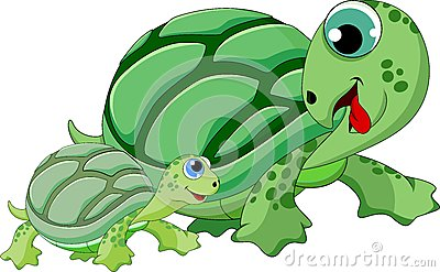mother and child turtle cartoon