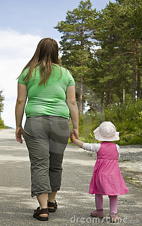 Mother and child walking