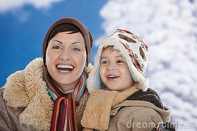 Mother and child at winter