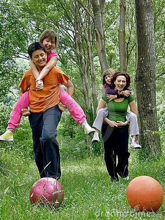 Mother and children in fun