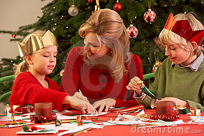 Mother And Children Making Christmas Cards