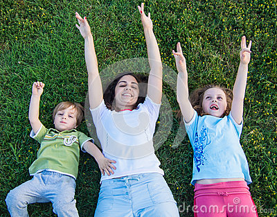 Mother and children outdoor