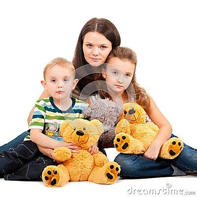 Mother with children sitting portrait