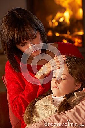 Mother Comforting Sick Daughter