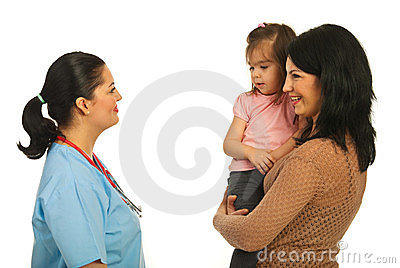 Mother converse with doctor woman