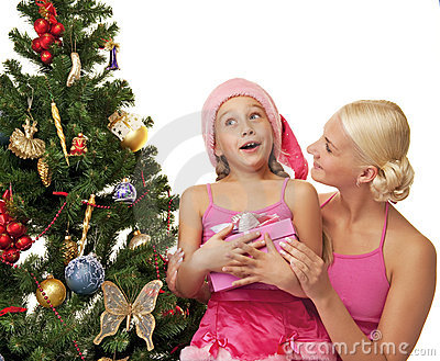 Mother and daughter celebrating christmas