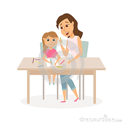 Mother and daughter drawing Vector Illustration