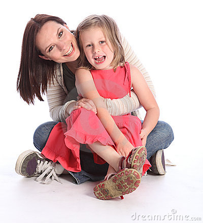 Free Mother Daughter Fun And Laughter Sitting On Floor Stock Images - 21211714