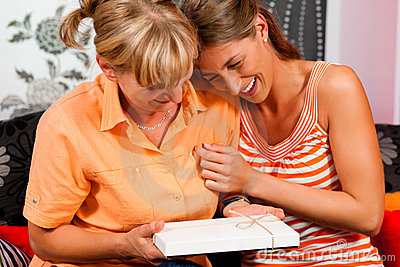 Mother and daughter with gift