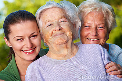 Mother, daughter and granddaughter