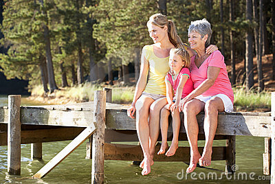 Mother,daughter and grandmother sat by lake