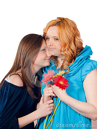 Mother and daughter happy hugging isolated