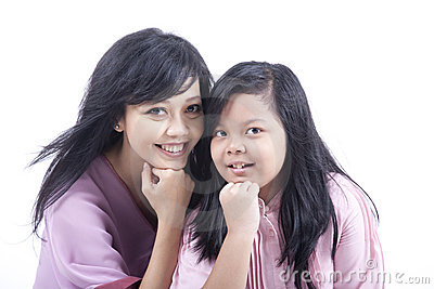 Mother and Daughter Happy Pose