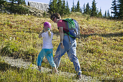 Mother and daughter hiking