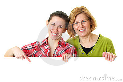 Mother and daughter holds white blank board