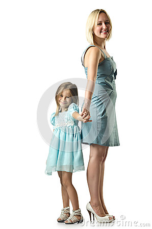 Mother with daughter isolated