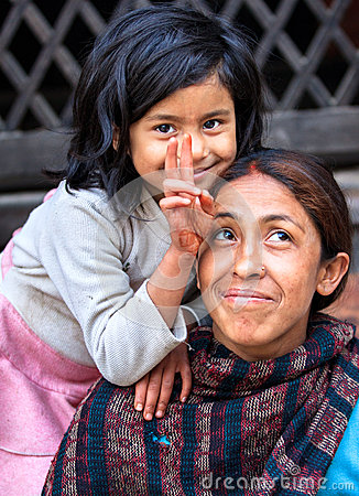 Mother and Daughter, Kathmandu, Nepal Editorial Photo