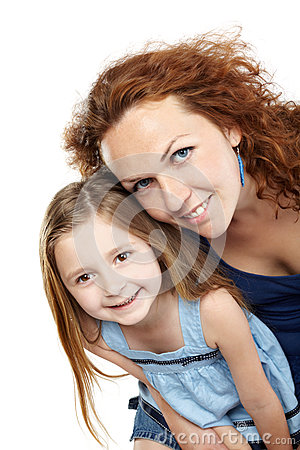 Mother and daughter lean together slightly forward