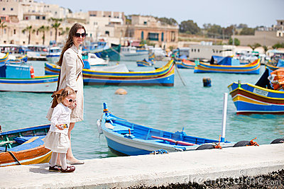 Mother and daughter in Malta