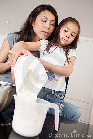 Mother and Daughter Measuring Ingredient