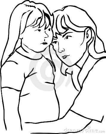 Mother and daughter outline.