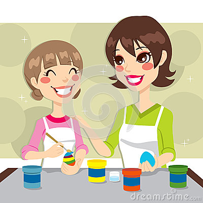 Mother and Daughter Painting