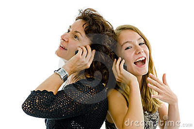 Mother and daughter on the phone