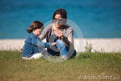Mother and daughter playing