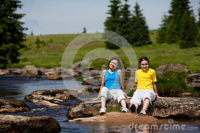 Mother and daughter resting